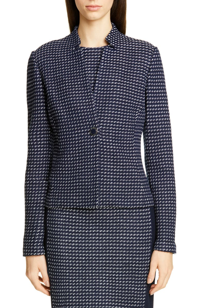 ST. JOHN COLLECTION Dotted Inlay Tweed Knit Jacket, Main, color, NAVY/ WHITE MULTI