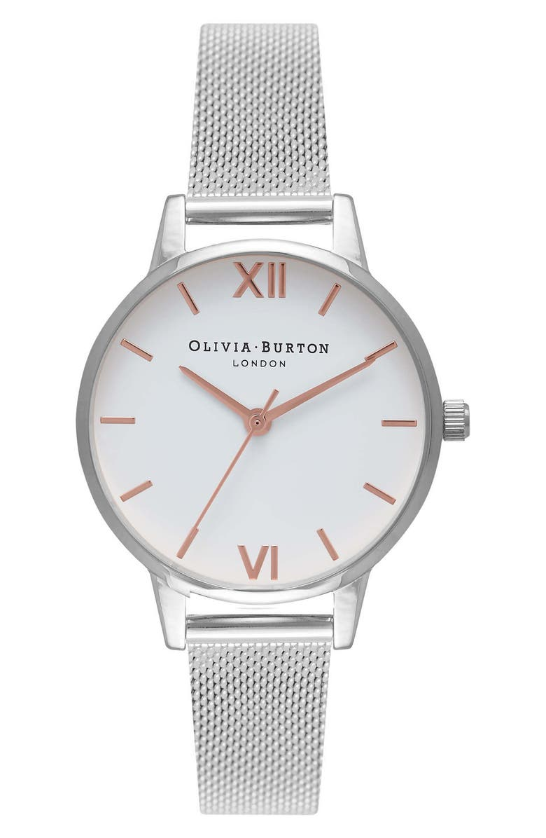 OLIVIA BURTON Mesh Strap Watch, 30mm, Main, color, SILVER/ WHITE/ ROSE GOLD