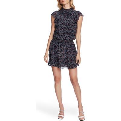 1.state Floral Smocked Flutter Sleeve Dress, Black