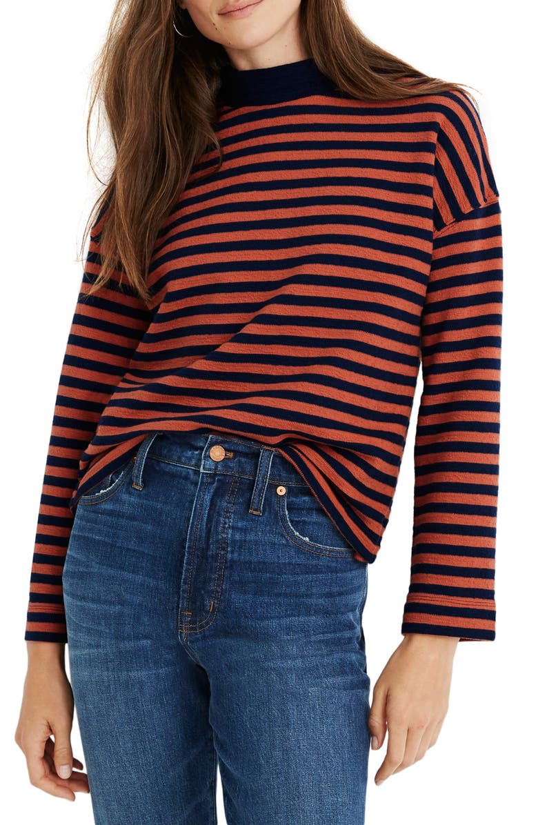 MADEWELL Stripe Mock Neck Boxy Top, Main, color, SWEET DAHLIA