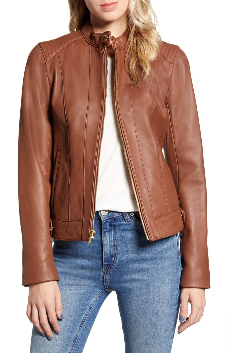 COLE HAAN SIGNATURE Cole Haan Leather Moto Jacket, Main, color, HICKORY