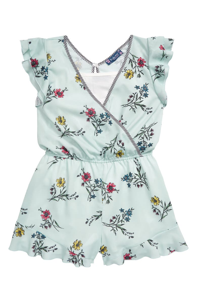 TRULY ME Floral Print Ruffle Romper, Main, color, 300