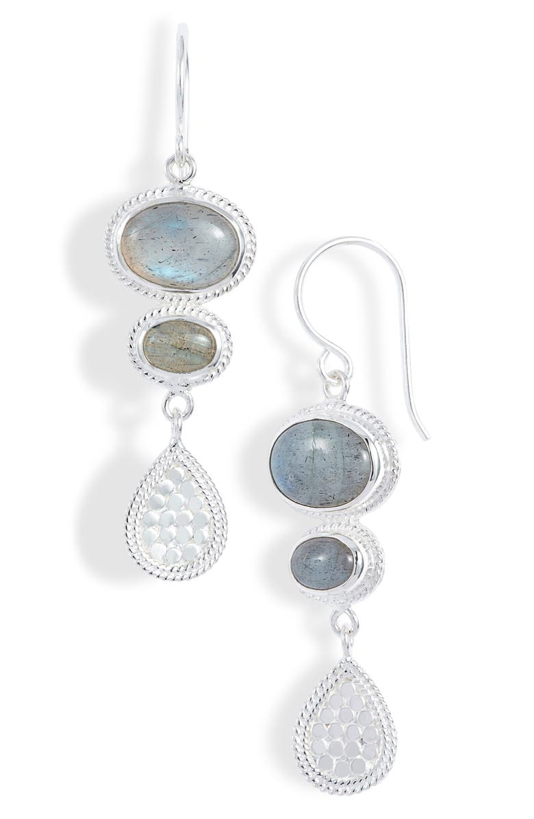 ANNA BECK Labradorite Drop Earrings, Main, color, SILVER/ LABRADORITE