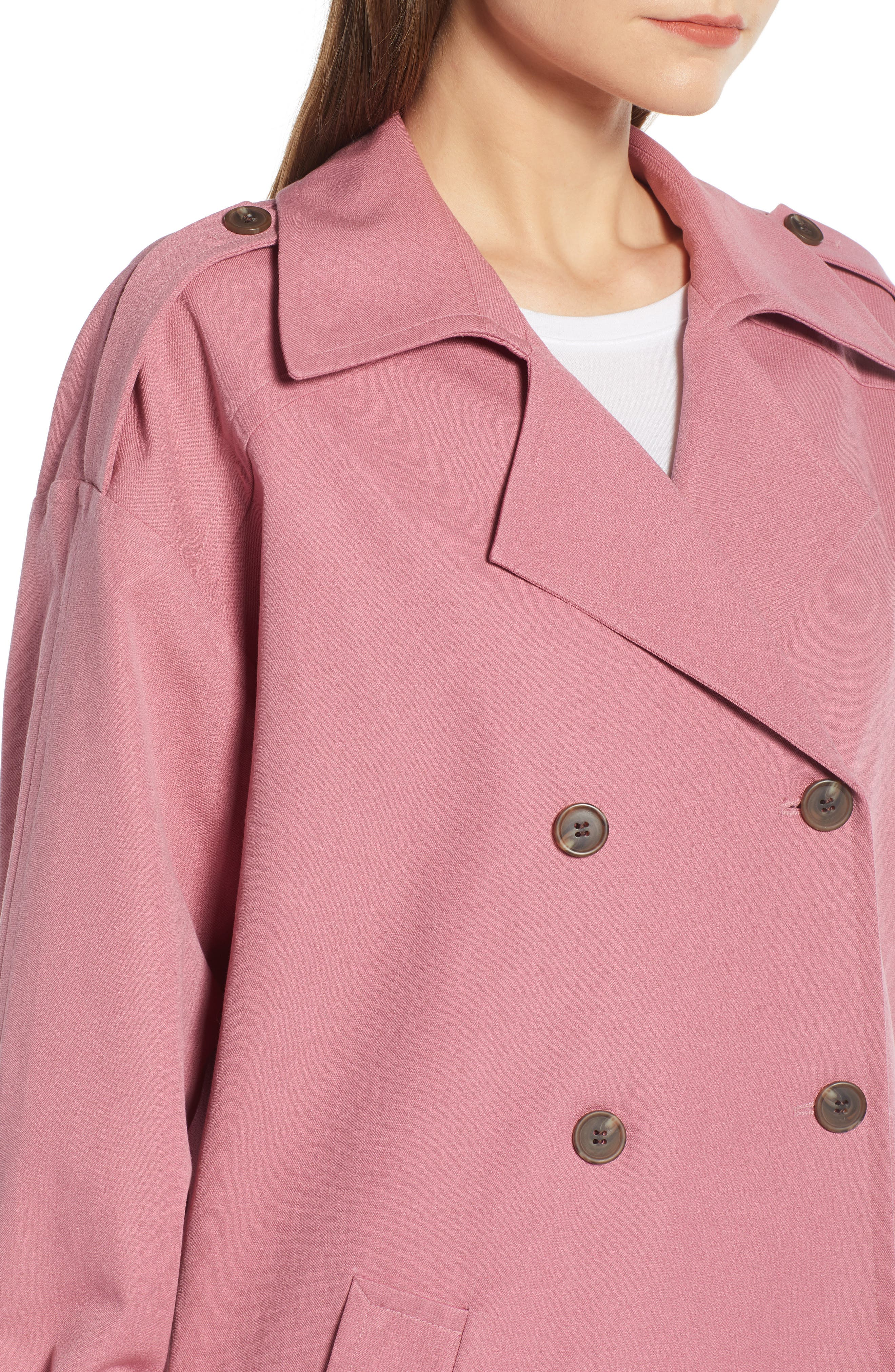,                             Easy Oversize Trench,                             Alternate thumbnail 6, color,                             PINK HEATHER