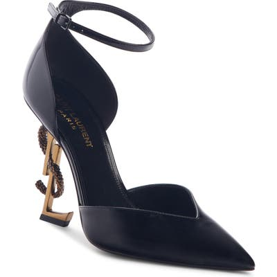 Saint Laurent Opyum Ankle Strap Pointy Toe Pump, Black