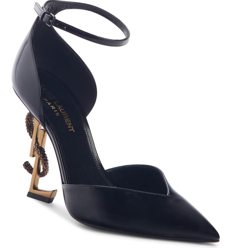 SAINT LAURENT Opyum Ankle Strap Pointy Toe Pump, Main, color, BLACK