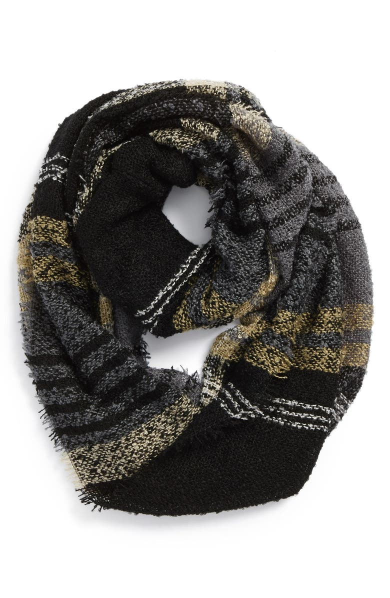 DAVID & YOUNG Plaid Infinity Scarf, Main, color, 001