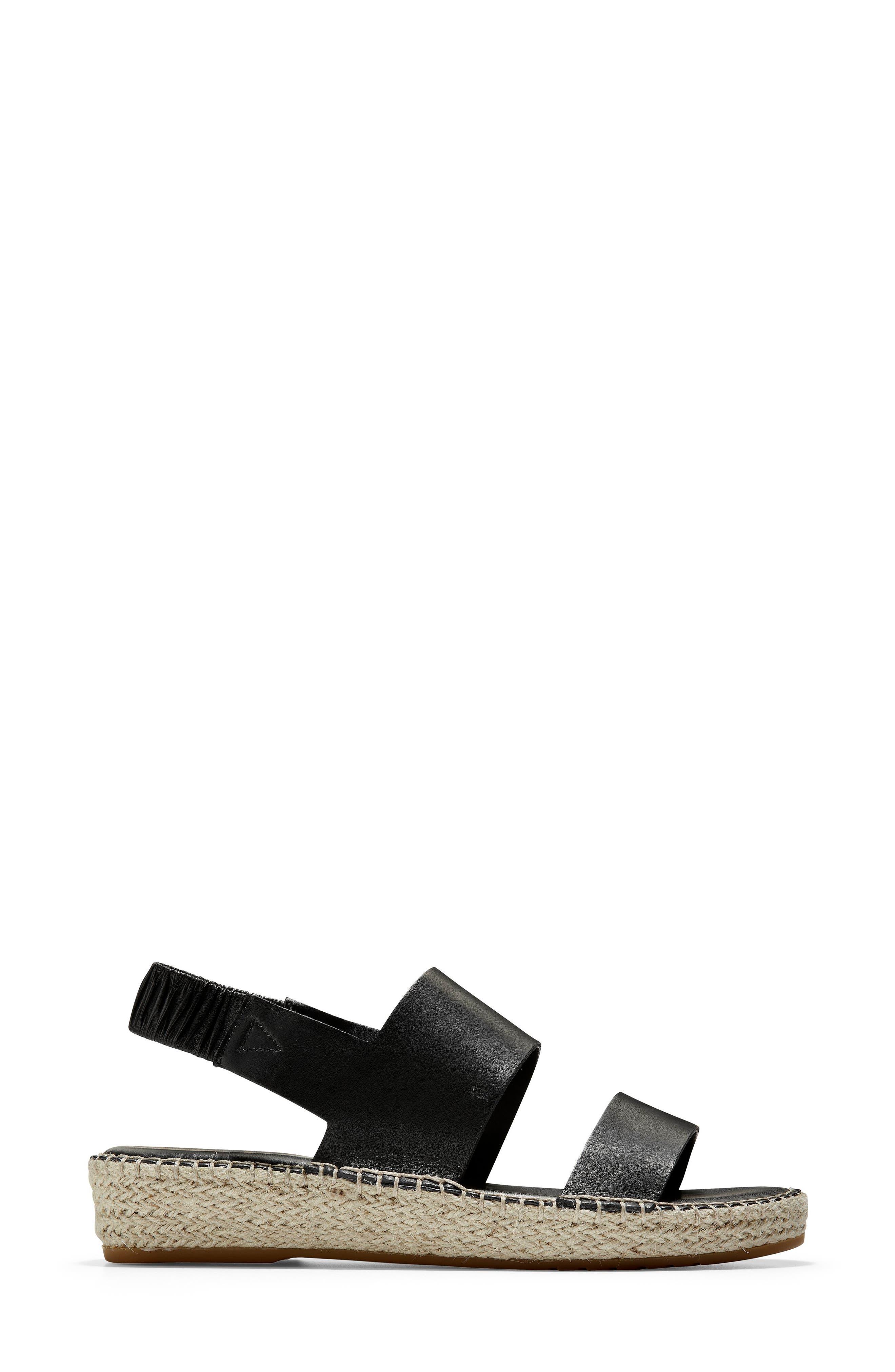 ,                             Cloudfeel Espadrille Sandal,                             Alternate thumbnail 3, color,                             BLACK LEATHER