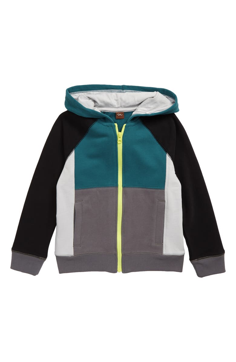 TEA COLLECTION Color Block Full Zip Hoodie, Main, color, OASIS