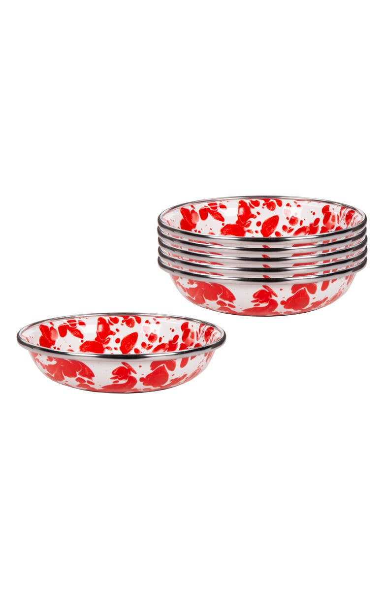 GOLDEN RABBIT Swirl Set of 6 Tasting Dishes, Main, color, RED