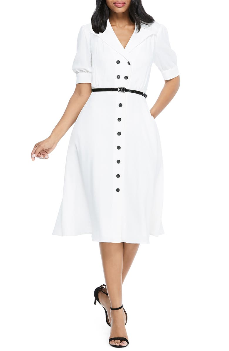 MAGGY LONDON Double Breasted Shirtdress, Main, color, IVORY 119