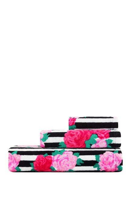 Image of Betsey Johnson Flower Stripe Pink 3-Piece Towel Set