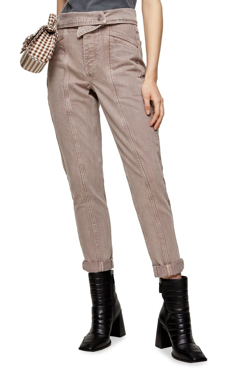 TOPSHOP Foldover Waist Crop Mom Jeans, Main, color, PURPLE
