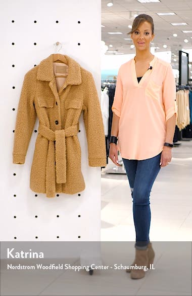 Toffee Faux Shearling Belted Coat, sales video thumbnail