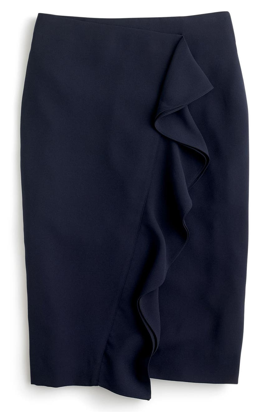 a84cded53 J.Crew 365 Crepe Ruffle Pencil Skirt | Nordstrom