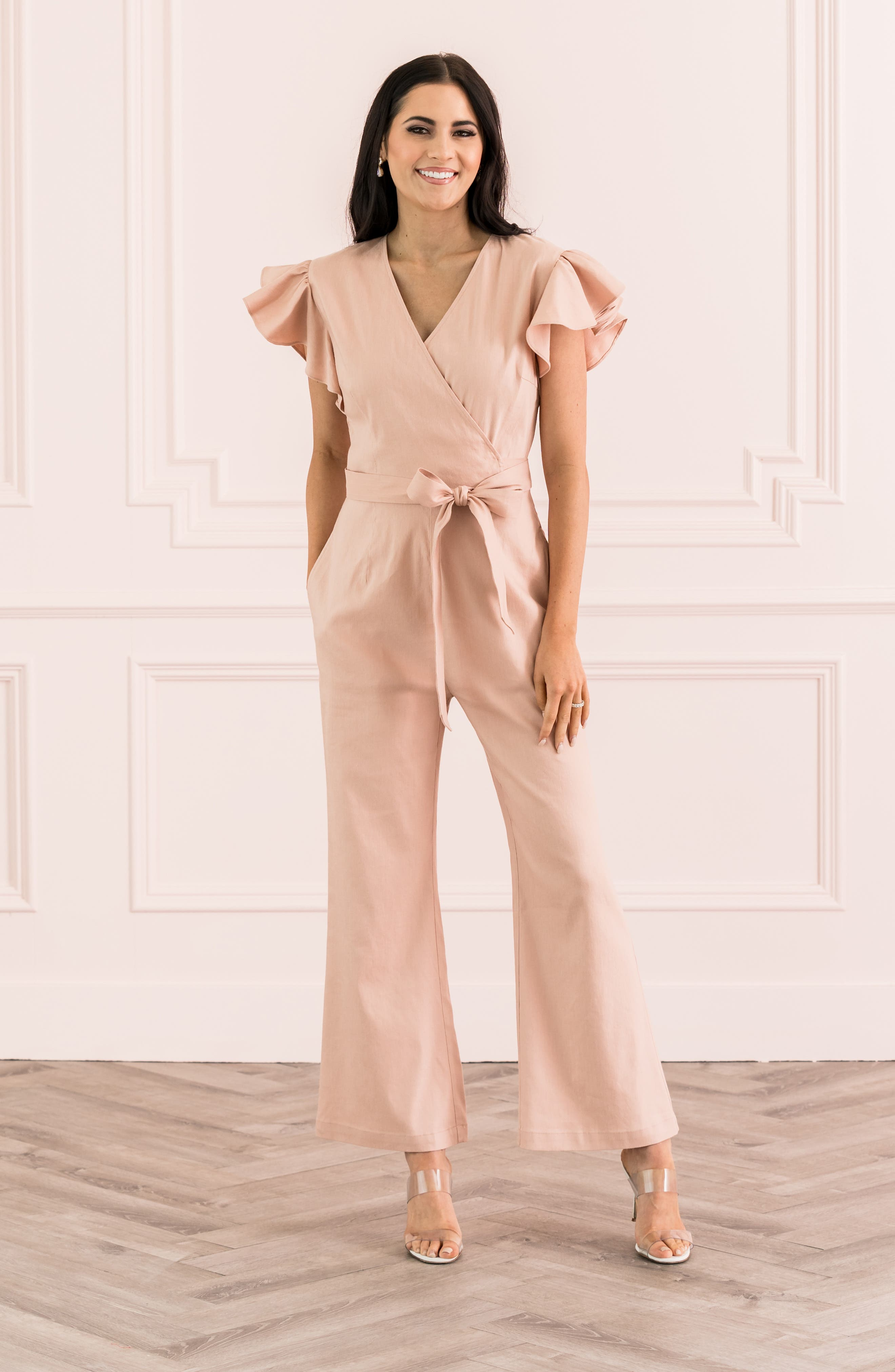 ,                             Ruffle Sleeve Jumpsuit,                             Alternate thumbnail 11, color,                             680