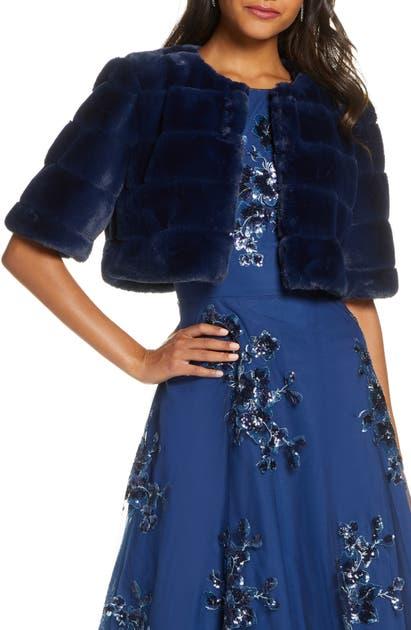 Eliza J Faux Fur Crop Jacket In Navy