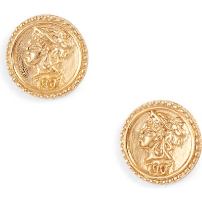 Sterling Forever Crown Jewel Coin Stud Earrings