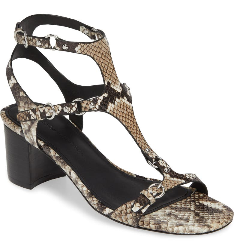 SIGERSON MORRISON Haven T-Strap Sandal, Main, color, BLACK/ WHITE SNAKE PRINT