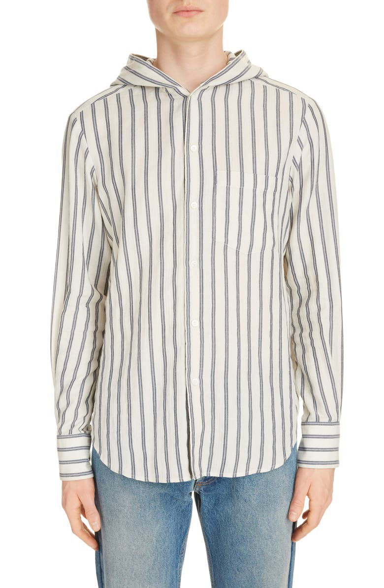 LOEWE Stripe Button-Up Hooded Shirt, Main, color, WHITE/ BLUE