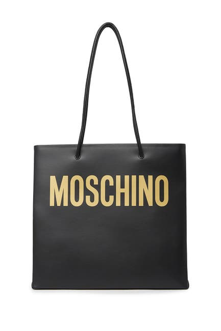 Image of MOSCHINO Leather Logo Tote Bag