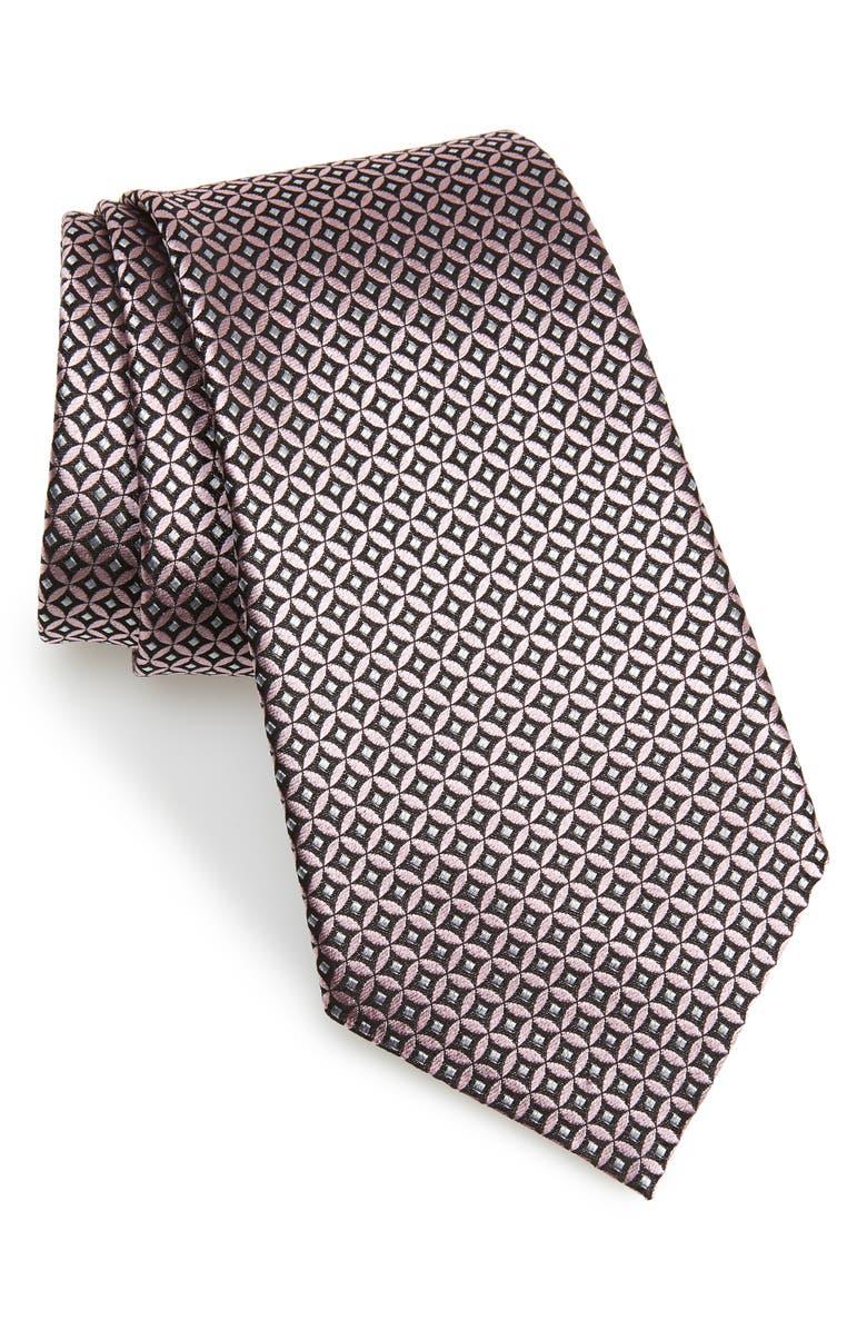 ERMENEGILDO ZEGNA Geometric Silk Tie, Main, color, MEDIUM PINK FAN