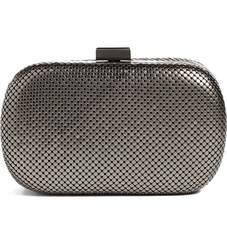 WHITING & DAVIS Mesh Oval Minaudière, Main, color, GUNMETAL