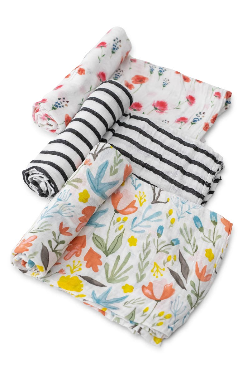 LITTLE UNICORN 3-Pack Cotton Muslin Blankets, Main, color, WILD MUMS