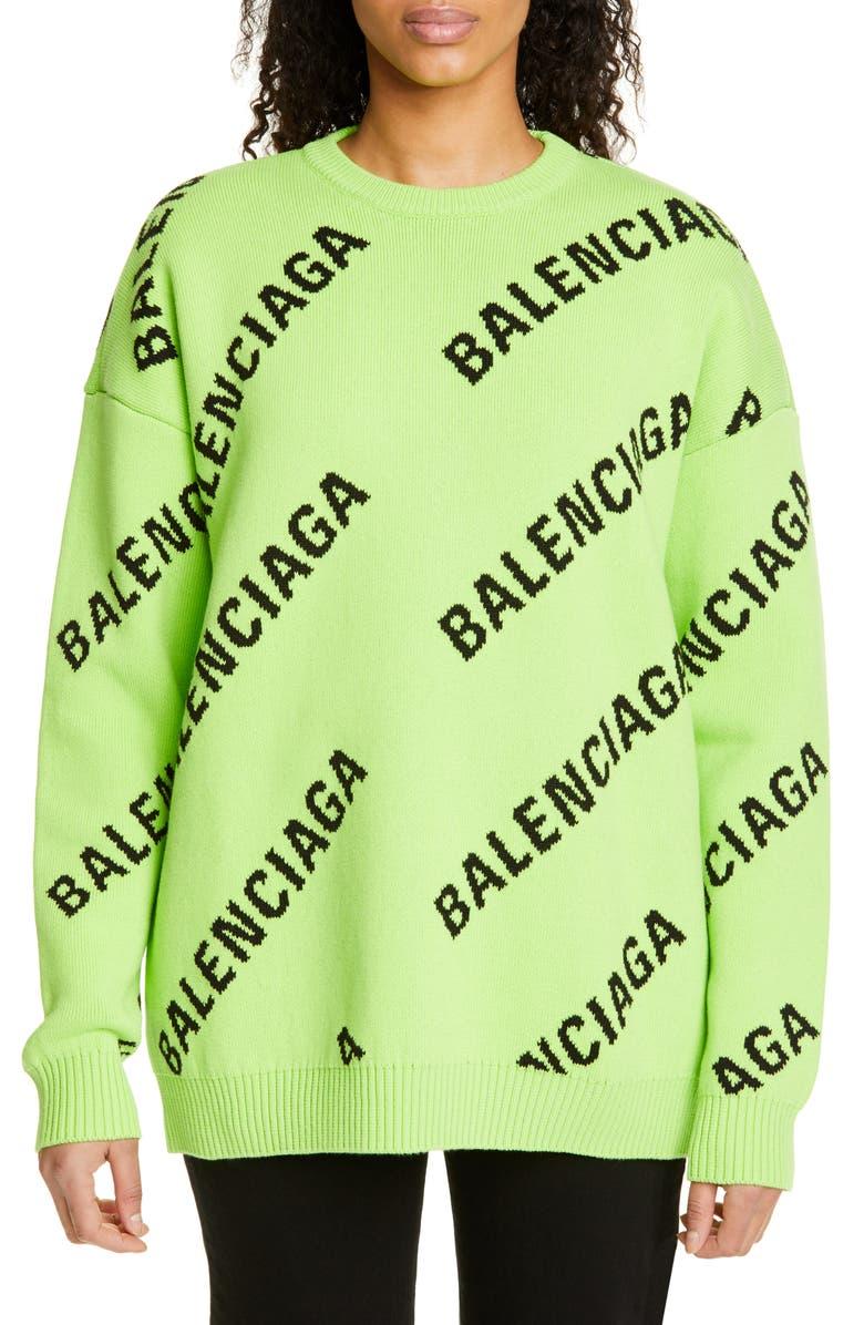 BALENCIAGA Logo Jacquard Cotton Blend Sweater, Main, color, ACID GREEN/ BLACK