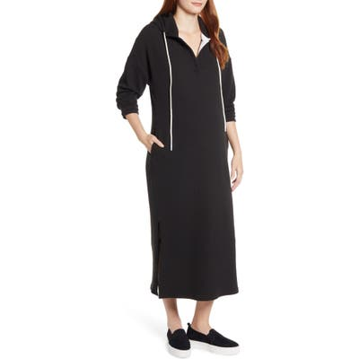 Angel Maternity Long Sleeve Knit Hoodie Maternity Dress, Black