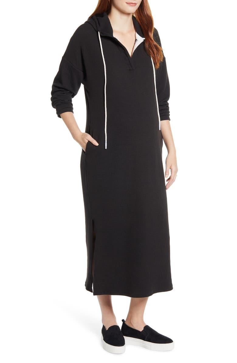 ANGEL MATERNITY Long Sleeve Knit Hoodie Maternity Dress, Main, color, BLACK