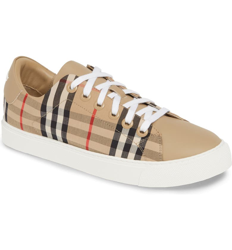 BURBERRY Albridge Check Low Top Sneaker, Main, color, ARCHIVE BEIGE