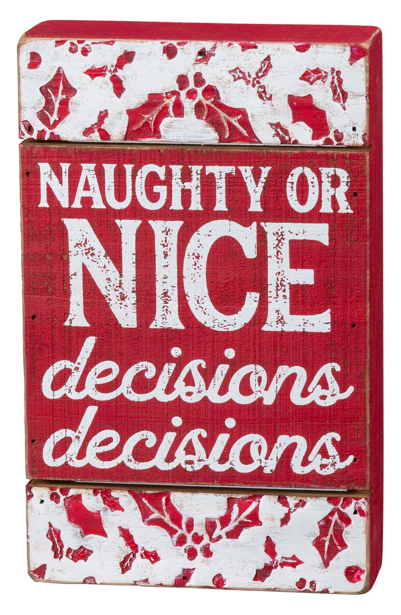 PRIMITIVES BY KATHY Naughty or Nice Wood Box Sign, Main, color, RED