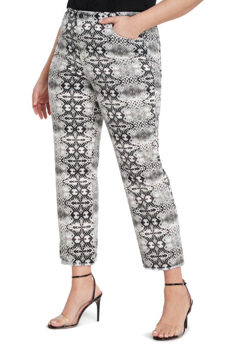 ELOQUII Snake Print Stretch Cotton Jeans, Main, color, 250