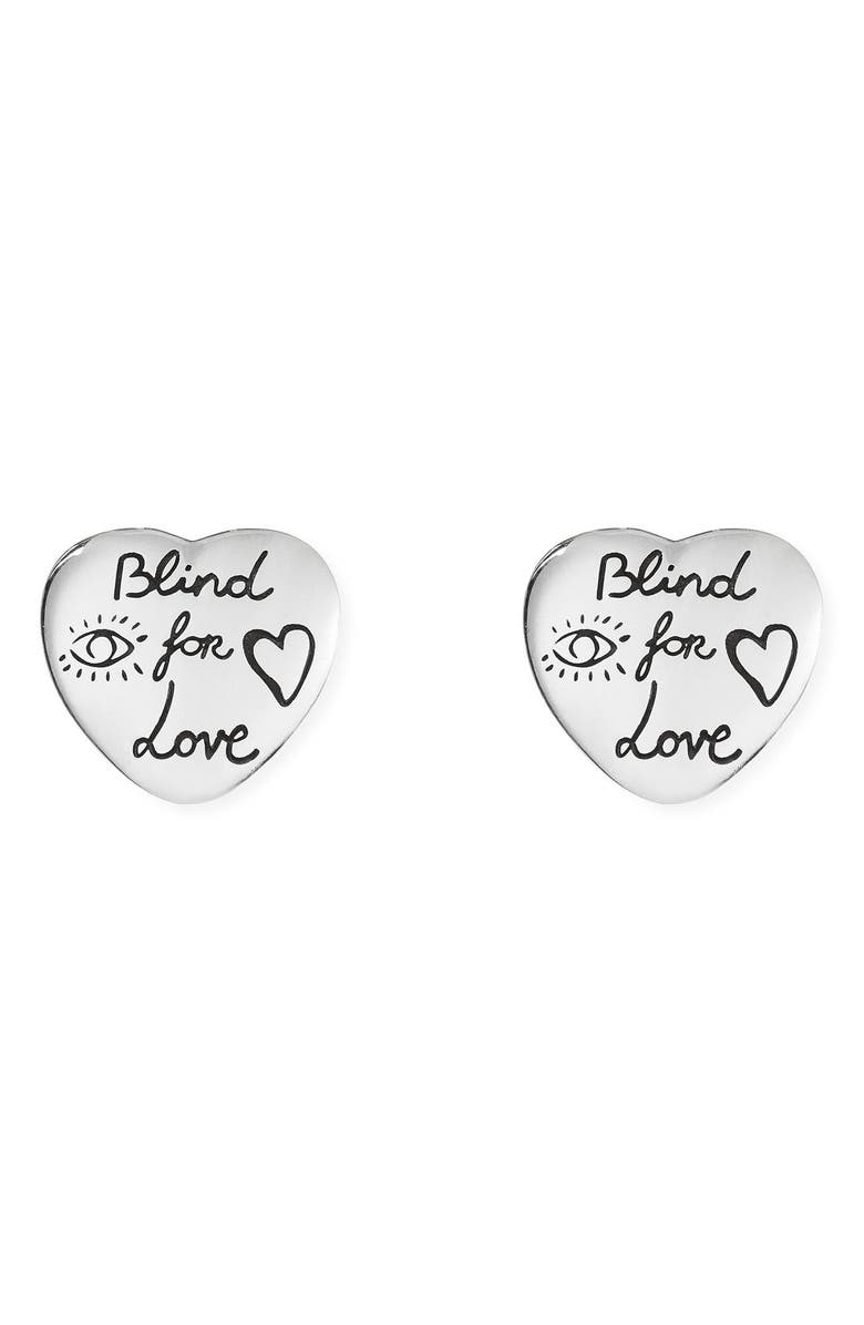 GUCCI Blind for Love Stud Earrings, Main, color, STERLING SILVER