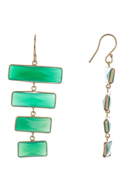 Image of Forever Creations USA Inc. Gold Vermeil Sterling Silver Emerald Bar Drop Earrings