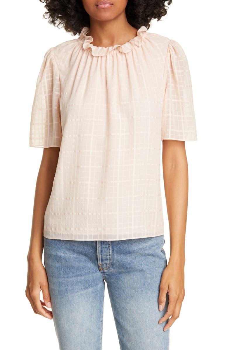 REBECCA TAYLOR Daybreak Short Sleeve Silk Top, Main, color, BALLET