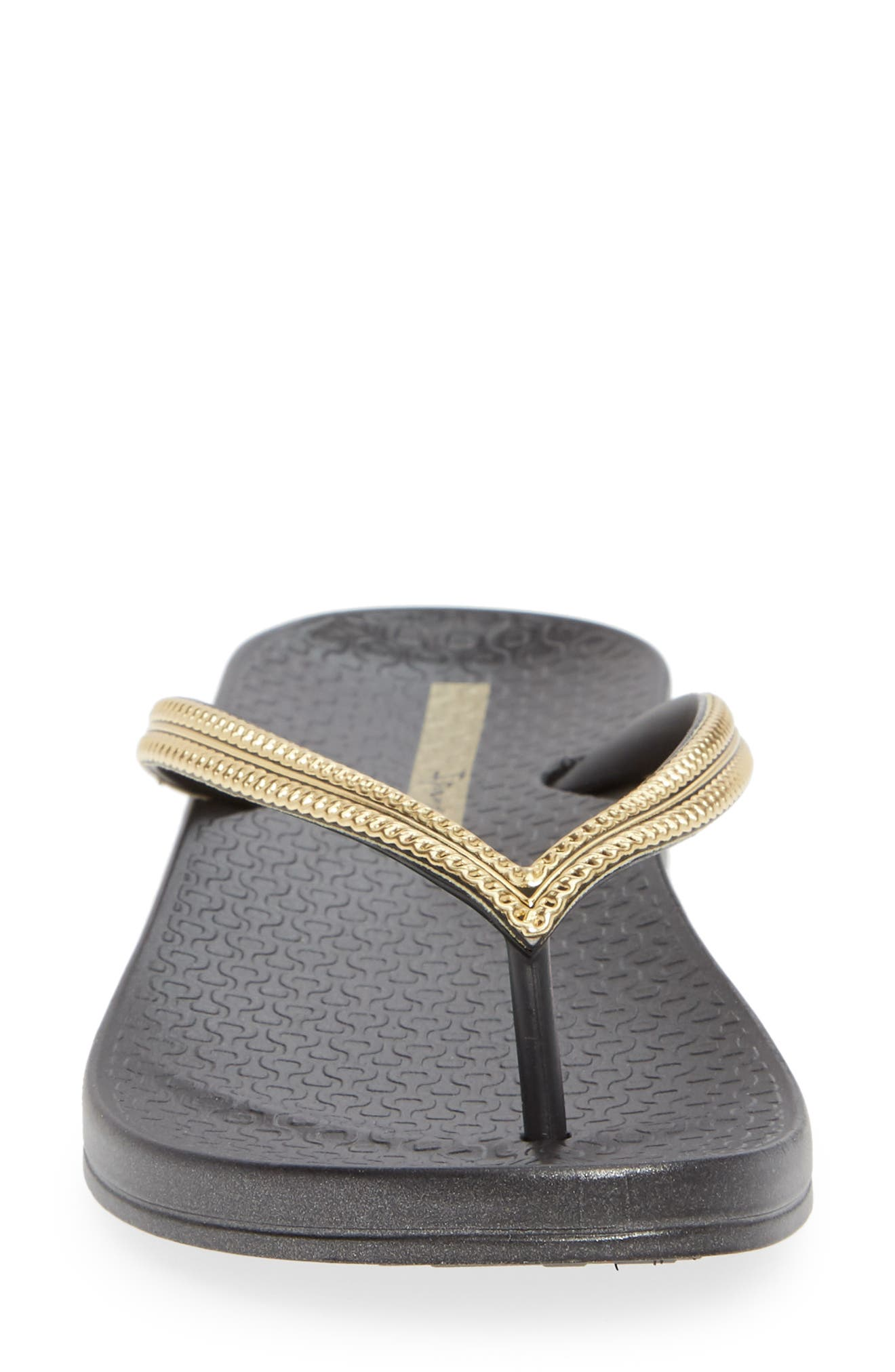 ,                             Ana Metallic Flip Flop,                             Alternate thumbnail 4, color,                             BLACK/ GOLD