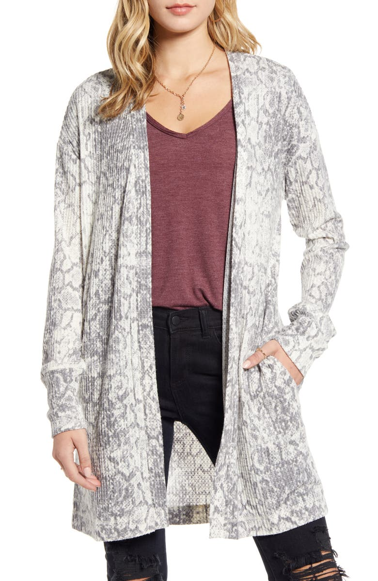 SOCIALITE Snake Print Waffle Knit Cardigan, Main, color, 020