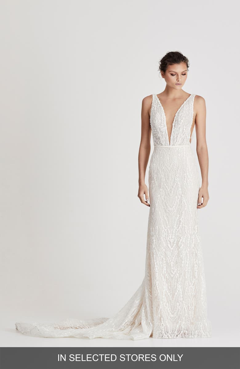 CHOSEN BY ONE DAY Darling Beaded Column Wedding Dress, Main, color, IVORY/NUDE