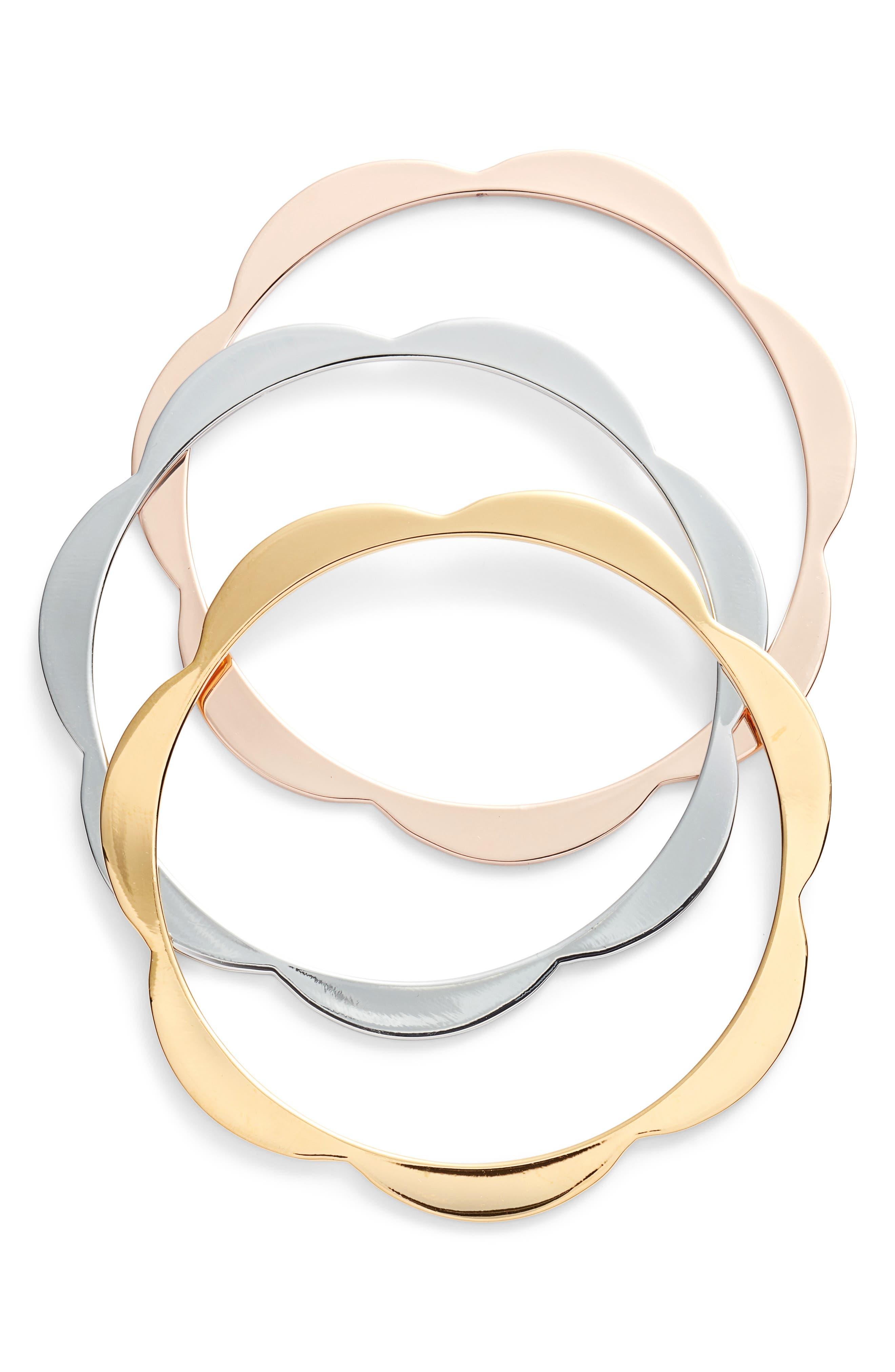 set of 3 scallop bangles, Main, color, 710