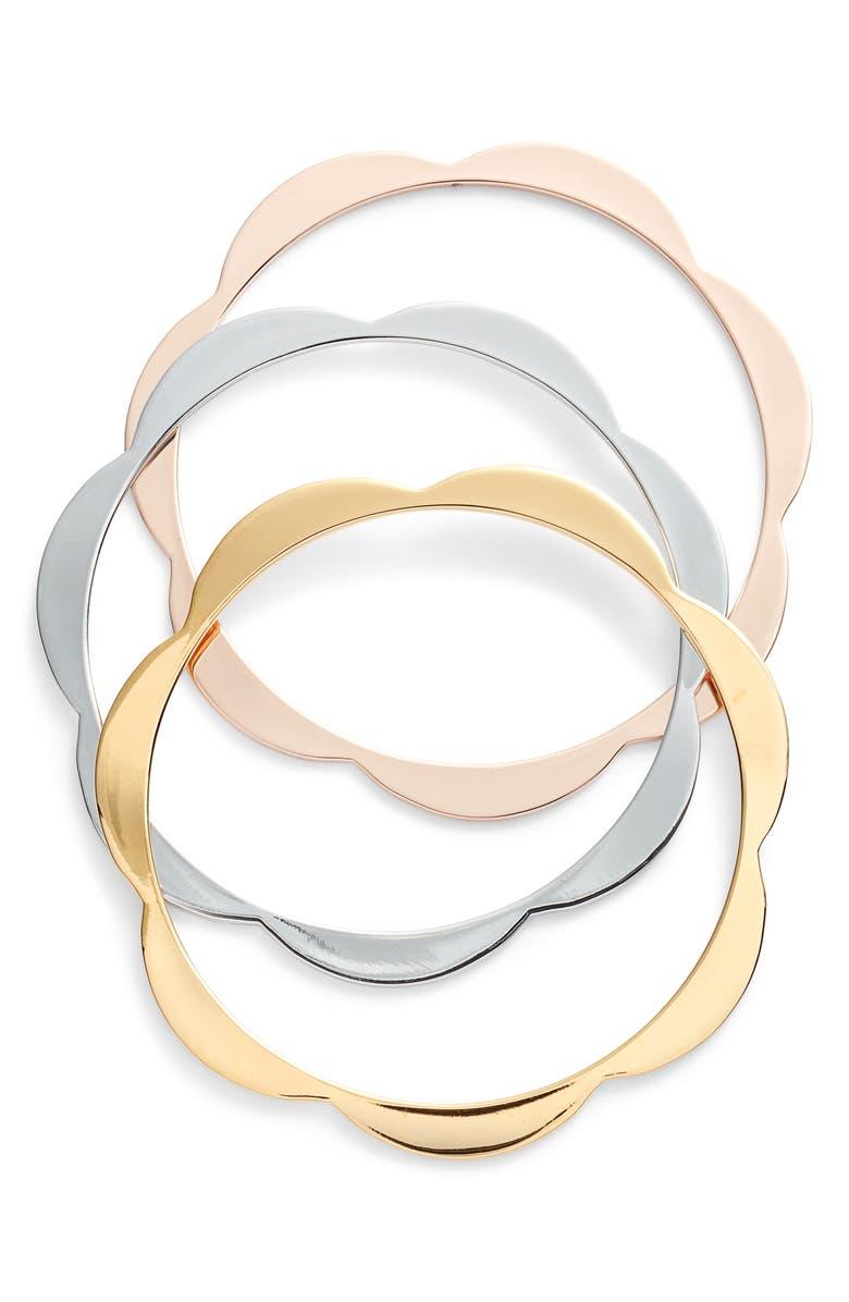 KATE SPADE NEW YORK set of 3 scallop bangles, Main, color, 710