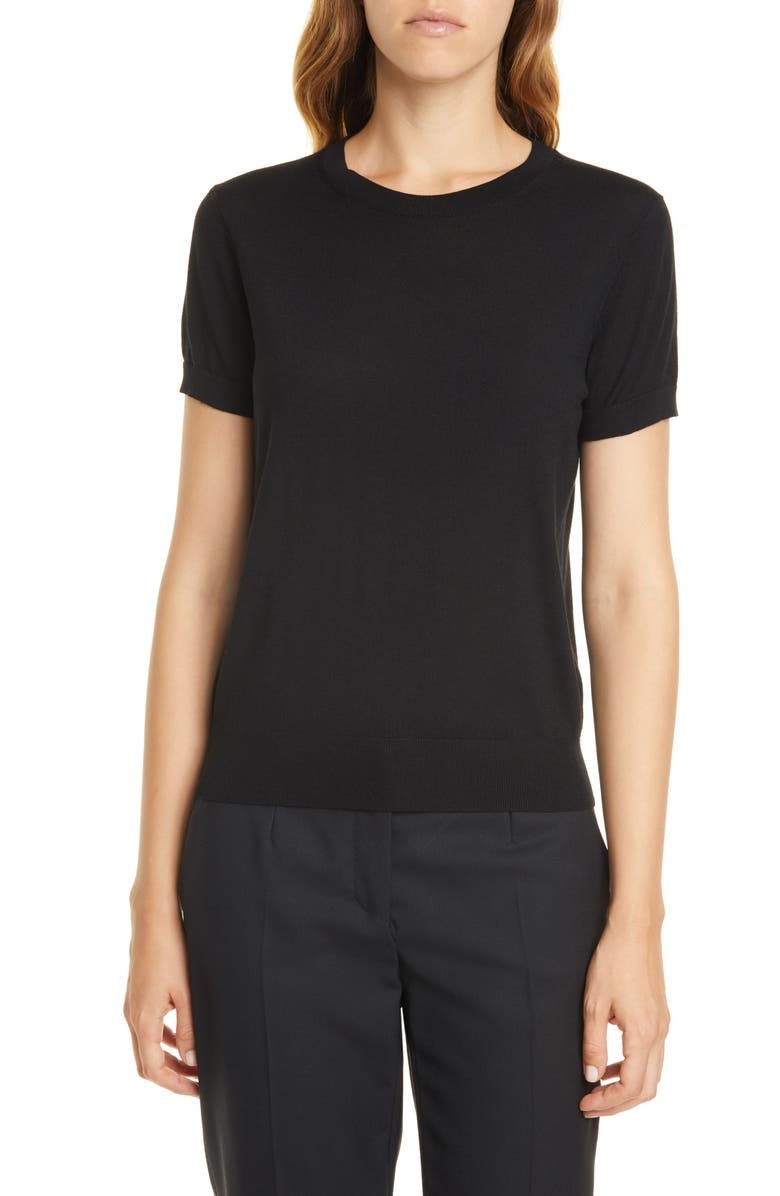 THEORY P Regal Short Sleeve Wool Sweater, Main, color, BLACK