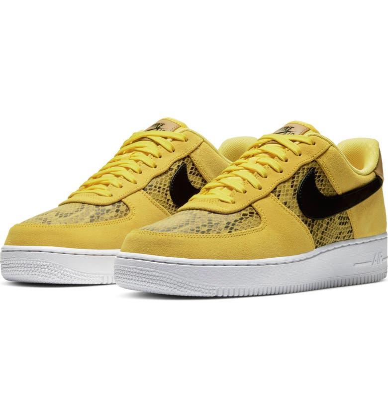 NIKE Air Force 1 '07 Premium Sneaker, Main, color, CHROME YELLOW/ BLACK/ GOLD