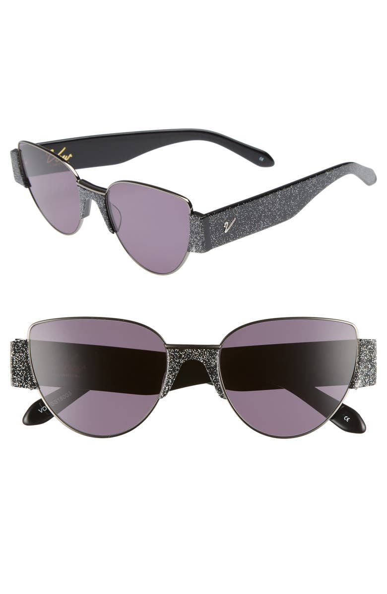 VOW LONDON Dahlia 55mm Cat Eye Sunglasses, Main, color, MULTI GLITTER/ GUNMETAL/ SMOKE
