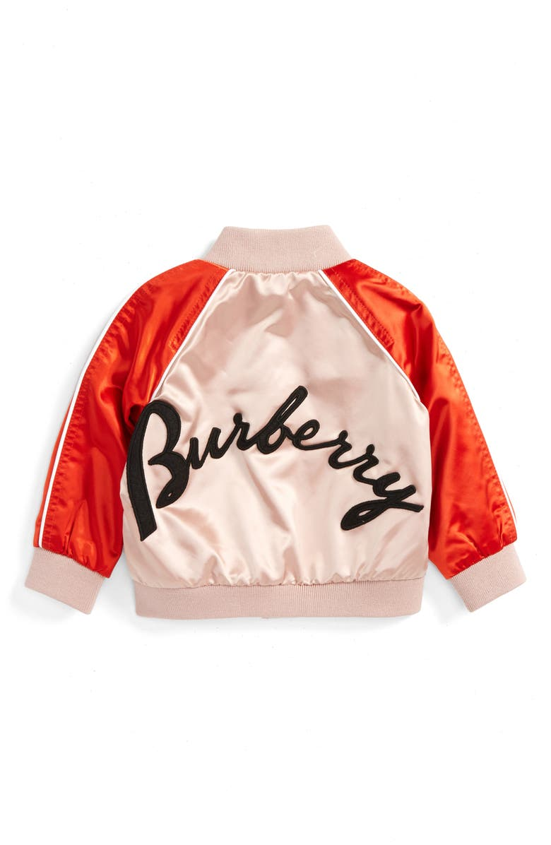 BURBERRY Bartinstead Satin Bomber Jacket, Main, color, 681
