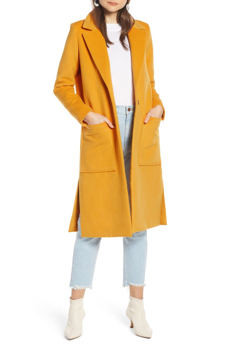 SOMETHING NAVY Patch Pocket Coat, Main, color, 701