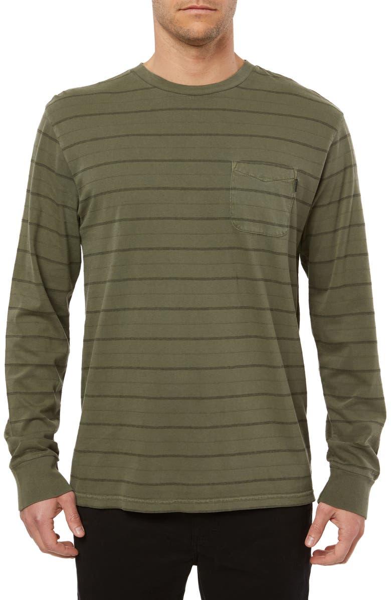 O'NEILL Dinsmore Stripe Long Sleeve Pocket T-Shirt, Main, color, ARMY GREEN