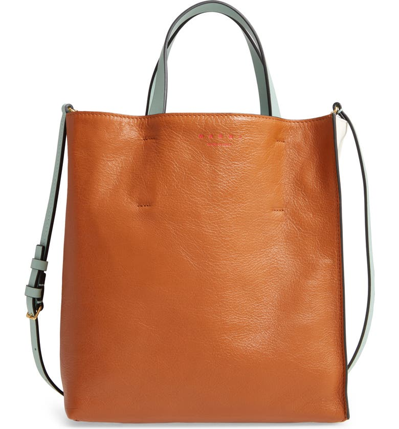 MARNI Museo Small Colorblock Leather Tote, Main, color, CINNAMON/ LIMESTONE/ MINT