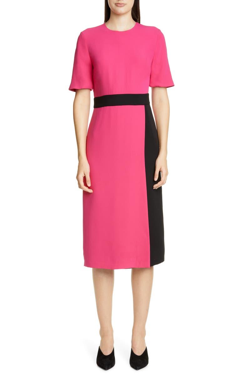 ST. JOHN COLLECTION Heavy Silk Georgette Faux Wrap Dress, Main, color, 670